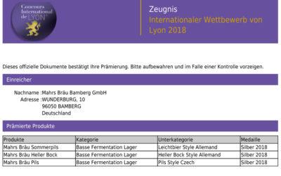 3x Silber beim Concours International de Lyon