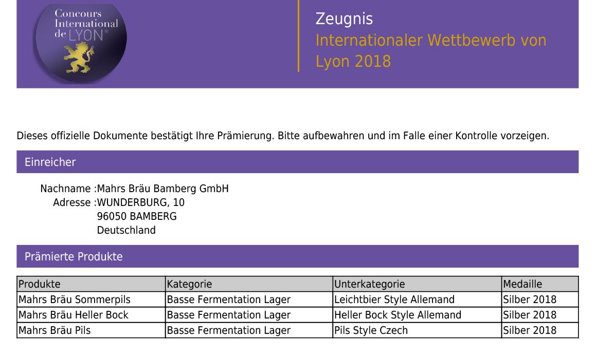 Mahr's Bräu wins 3 Silver Medals