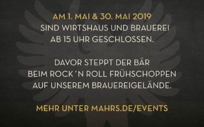 Geänderte Öffnungszeiten am 1. und 30. Mai 2019