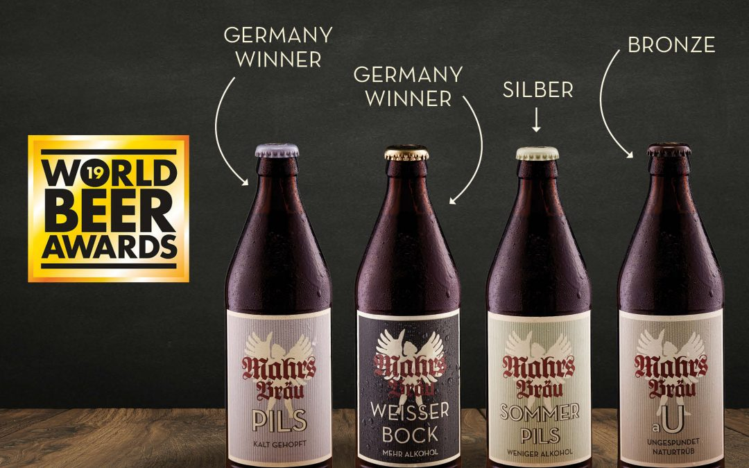 Mahr's Bräu cleans up with four wins at the 2019 World Beer Awards!