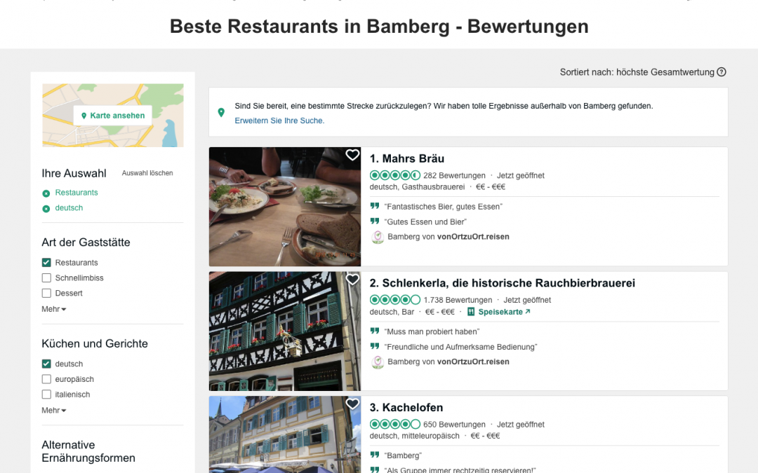 MAHR'S BRÄU RANKED 1st FOR BEST RESTAURANT IN BAMBERG